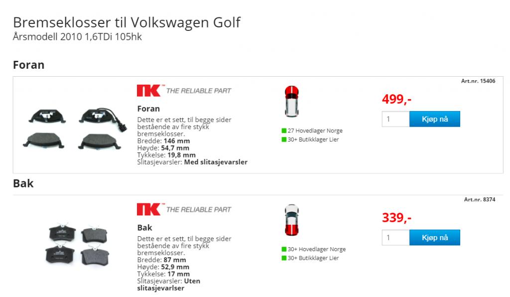 Kostnaden for bremseklosser på bildeler.no